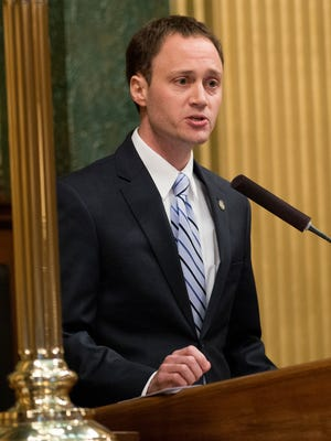 State Rep. Tom Leonard, speaker of the state House for the 2017-18 term, addresses the newly sworn Michigan House on Wednesday, Jan. 11, 2017 at the Capitol in downtown Lansing.