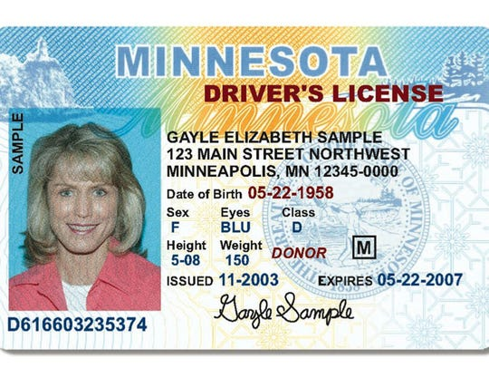This sample driver's license was provided by the Minnesota