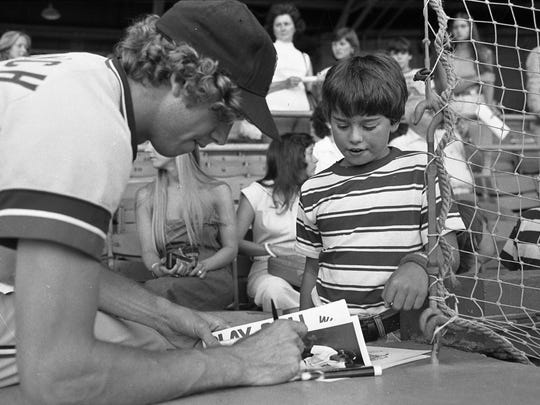 People at Bosse Field with the Evansville Triplets and Detroit Tigers Mark Fidrych, 1977. Gregory T. Smith