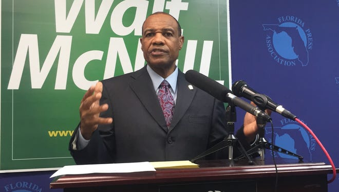 Walt McNeil speaks out during a news conference Tuesday.