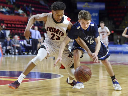 Northstar Christian junior guard Miles Brown, left, shown here in last year's Class C state semifinals, took a 30.6 scoring average into Tuesday's Section V Tournament opener against No. 16 North Rose-Wolcott.