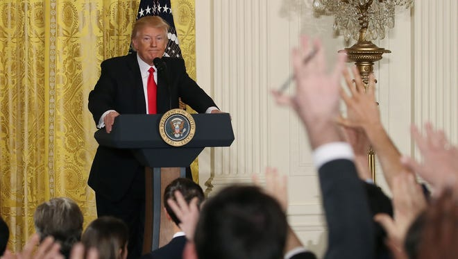 President Trump takes questions from reporters during a news conference in the East Room of the White House on Feb. 16, 2017.