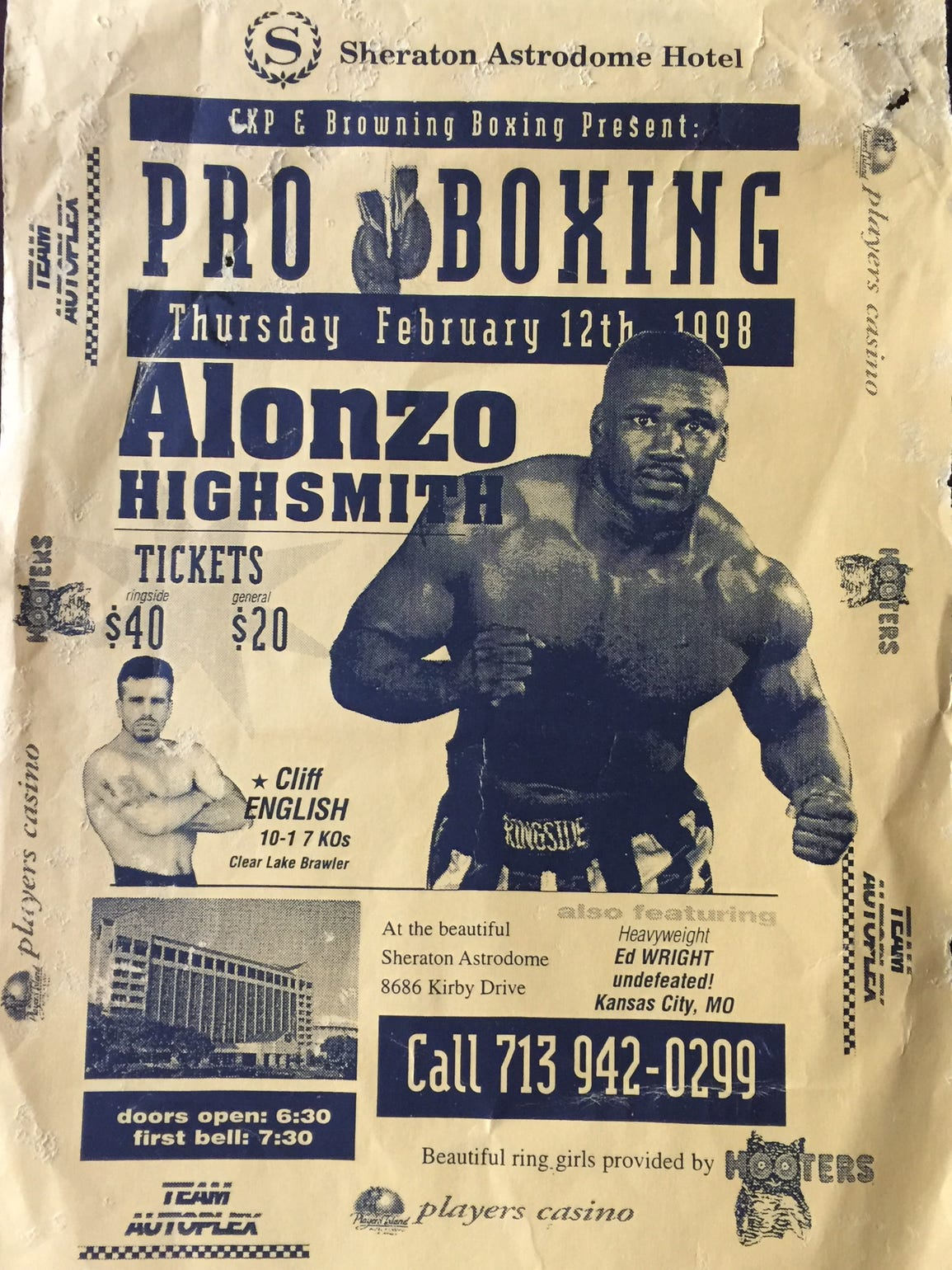 Fight poster promoting one of Alonzo Highsmith's bouts.