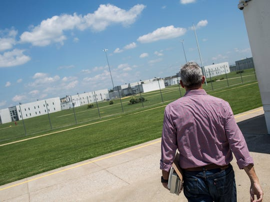 July 7, 2017 - Dr. Steve Haynes, a Rhodes College professor, walks towards the computer lab at the WomenÕs Therapeutic Residential Center (WTRC) at the West Tennessee State Penitentiary before leading a book club at the women's state prison in West Tennessee.