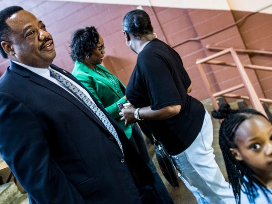 April 13, 2018 - Shelby County Sheriff's Deputy Chief Floyd Bonner watches a basketball game between Shelby County jailers and Tennessee Department of Corrections at the Orange Mound Community Center. Shelby County Sheriff's Deputy Chief Floyd Bonner is running for Shelby County Sheriff.