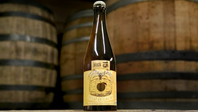 Block 15's Turbulent Consequence: Peche is a wild-fermented ale.