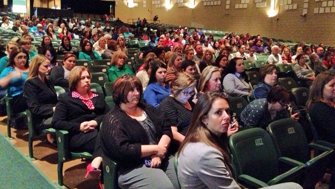 Many attended a Rapides Parish School Board special meeting called to discuss Eureka Math, a Common Core-aligned math curriculum implemented in local schools this year, at Peabody Magnet High School on Monday.