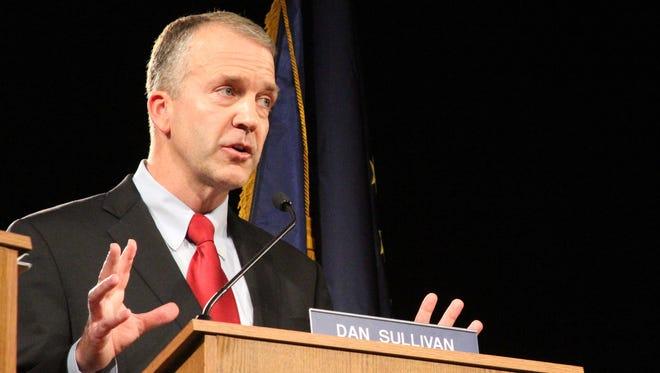 Former Alaska attorney general Dan Sullivan, a Republican U.S. Senate candidate, participates in a debate on Aug. 10 in Anchorage, Alaska.