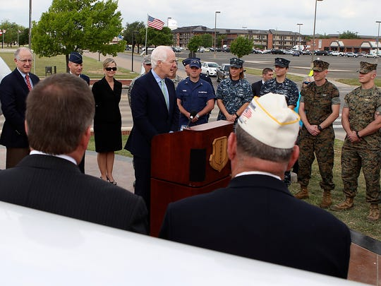 U.S. Senator John Cornyn speaks with local military, community and business leaders during a press conference on Goodfellow Air Force Base Monday, April 10, 2017.