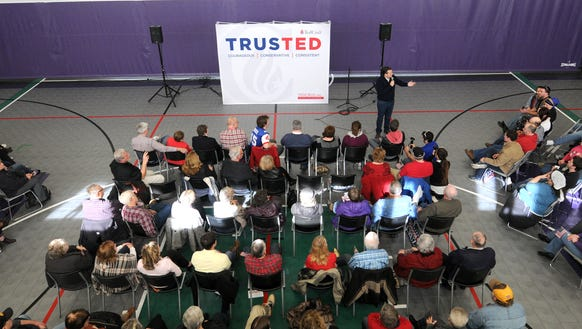 Ted Cruz conducts a caucus day rally on Feb. 1, 2016,