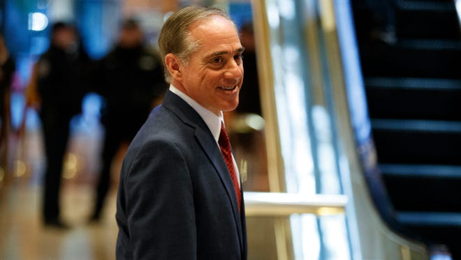 David Shulkin, currently Veterans Affairs undersecretary for health, leaves a meeting with President-elect Donald Trump at Trump Tower in New York on Jan. 9, 2017.