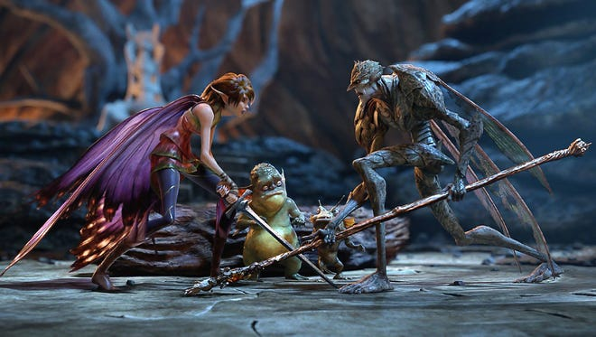 Marianne (voice of Evan Rachel Wood) and Bog King (voice of Alan Cumming) are part of a colorful cast of goblins, elves, fairies and imps in a scene from the animated 'Strange Magic.'