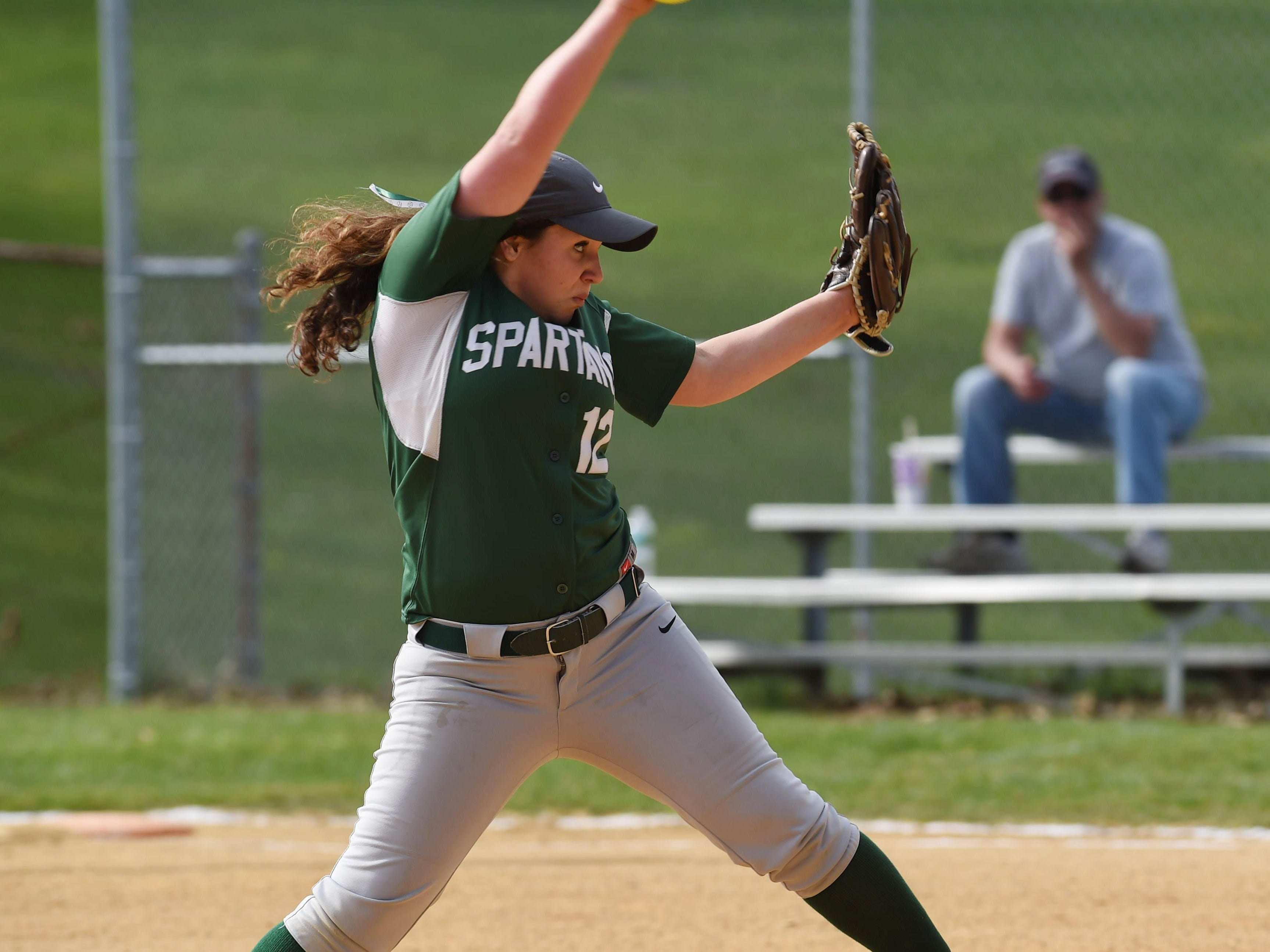 Spackenkill's Gabi Mastrantuono winds up a pitch during an April 18 game against Webutuck.