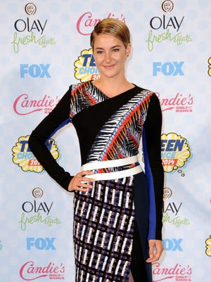 Shailene Woodley poses in the press room at the Teen Choice Awards at the Shrine Auditorium on Sunday, in Los Angeles.