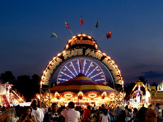 The Indiana State Fair midway lights up the night.