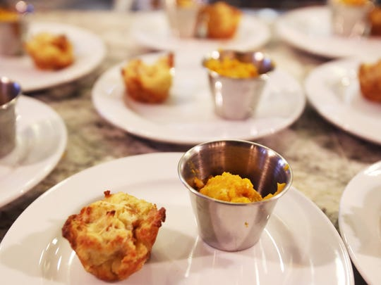 Great Lakes's Chef Reva Constantine prepared Butternut Squash crumble and an Asiago Bread Pudding on Sunday for the Detroit Free Press Feast Thanksgiving tasting event at the Great Lakes Culinary Center in Southfield.