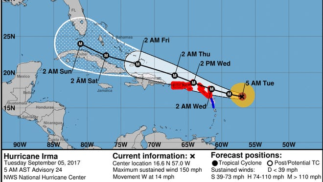8 a.m. Sept. 5, 2017, update on Hurricane Irma.