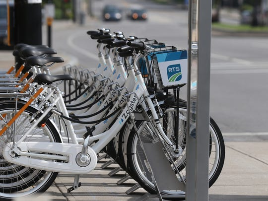 Zagster bikes lined up on Mt. Hope Avenue at Collegetown are pictured in this 2017 file photo.