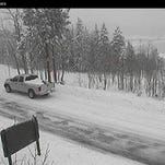 Heavy snow in the mountains of Larimer County have prompted some power outages and closures. This CDOT photo from Lily Lake, near Estes Park, was taken at 10:18 a.m.