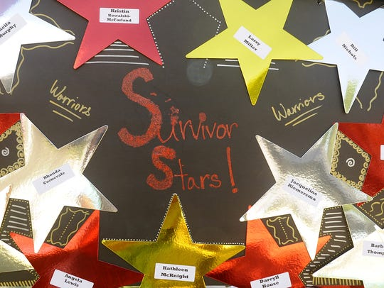 Cancer survivors were honored with stars.