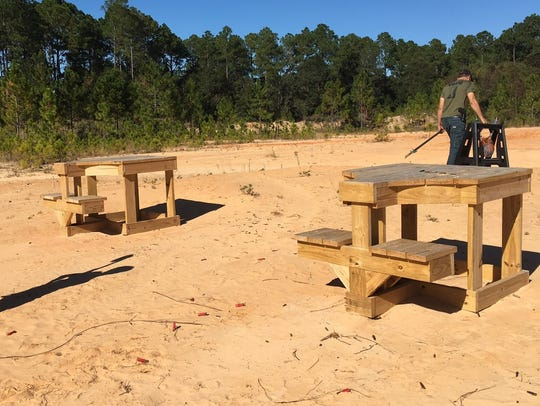 Tables used for target shooting at the property on