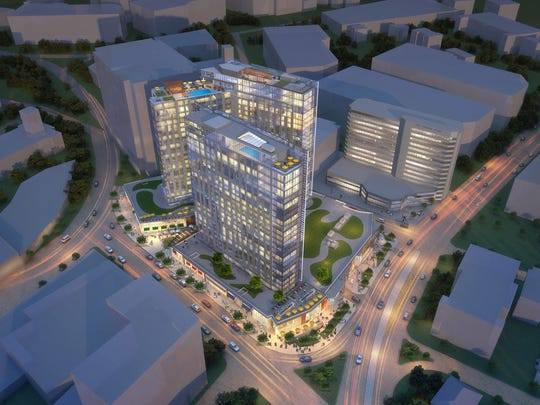 Architectural renderings of a mixed-use complex approved for the site of the former Westchester Pavilion in downtown White Plains.