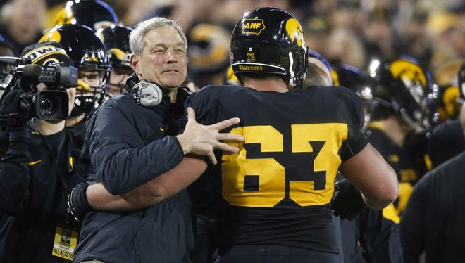 Iowa coach Kirk Ferentz will see center Austin Blythe and other seniors play their final home game Saturday.