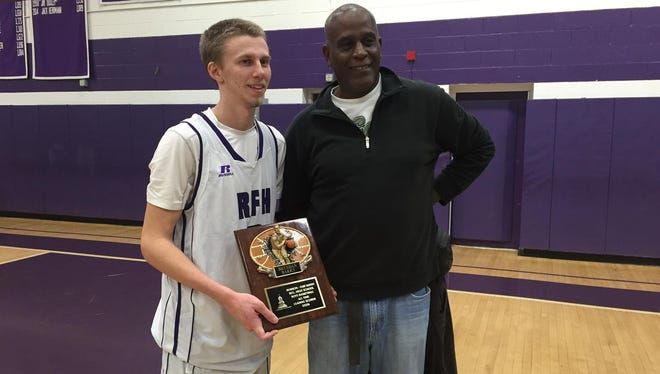 Rumson-Fair Haven's all-time leading scorer senior guard Brendan Barry (left) and No. 2 Palvin Williams.