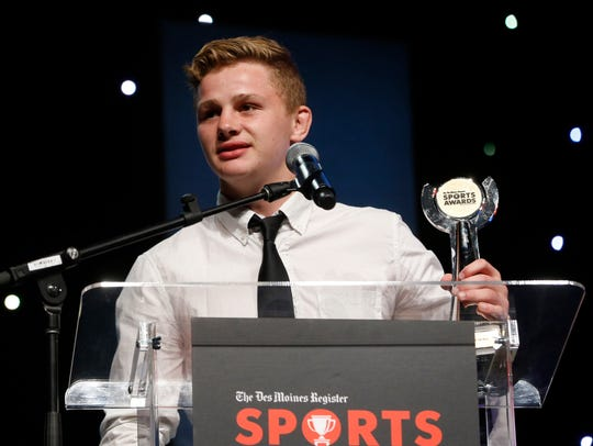 Wrestler of the year Brody Teske accepts his award