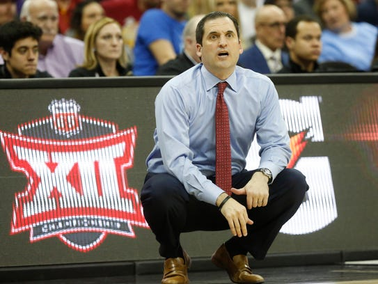 Iowa State head coach Steve Prohm looks on from the