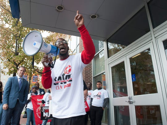 Activist Gary Frazier with Save Camden Public Schools speaks during a rally in Camden against renaissance schools. The rally was held outside of a meeting with NJ Department of Education Commissioner David Hespe and Camden Superintendent Paymon Rouhanifard on the Camden County College campus in Camden. Monday, September 22, 2015.