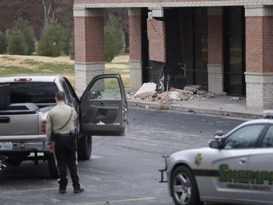 A truck crashed into a pillar at a Springfield shopping