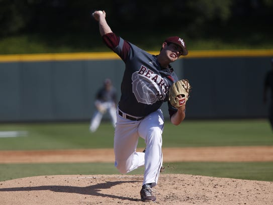 Missouri State's Dylan Coleman throws a pitch at the