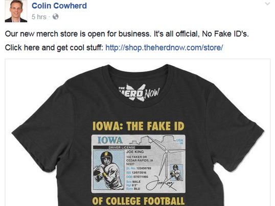 Colin cowherd disses iowa hawkeyes with 39 fake id 39 t shirt for University of iowa shirts