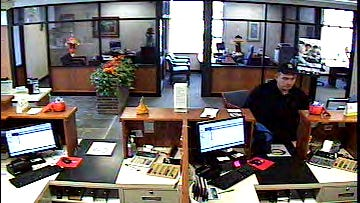 Surveillance video of the man suspected of robbing an NBT Bank in Susquehanna County, Pennsylvania.
