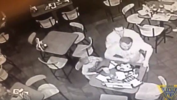 An off-duty New Jersey state trooper jumped into action when he noticed a man choking at the next table inside a fast-food restaurant.