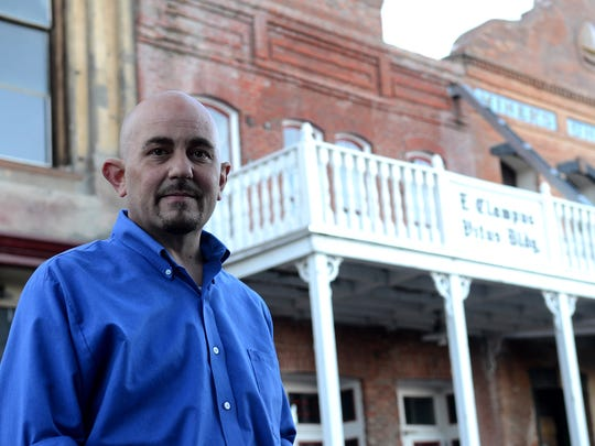 Bret Robards, a paranormal investigator for the Washoe Club and the Mackay Mansion, stands in front of the  E. Clampus Vitus Building on Oct. 21 in Virginia City. The building was said to house the Knights of Pythias, a secret fraternity.