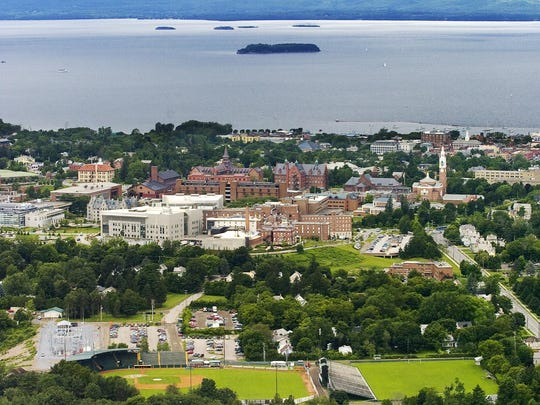Burlington and Lake Champlain viewed from the air in