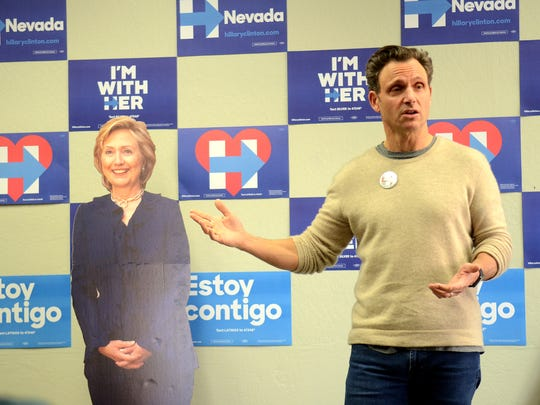 "Tony Goldwyn, actor in the TV series ""Scandal,"" speaks to students and volunteers for the local Hillary Clinton campaing on Saturday about why he supports her."