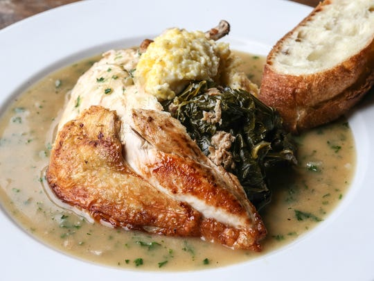 Sunday Sitdown at Eiderdown has Barr Farms roasted chicken, collard greens with sausage, grits, roasting jus. July 12, 2016