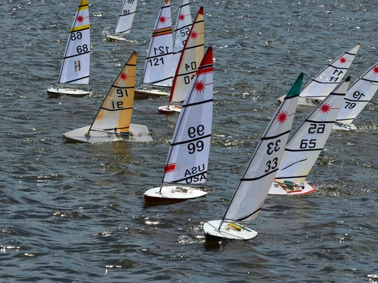 Contestants jockey for position at the starting line. The Marco Island Model Yacht Club held the 14th Annual RC (radio-controlled) Laser Midwinter Championship Regatta March 4 and 5 at a windy Mackle Park.