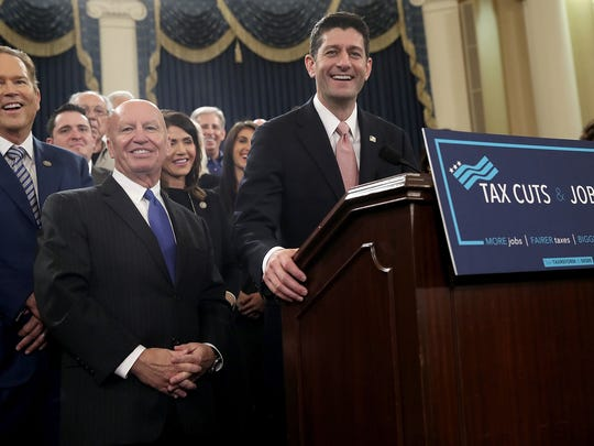 WASHINGTON, DC - NOVEMBER 02:  House Way and Means Chairman Kevin Brady (2nd L) (R-TX) and Speaker of the House Paul Ryan (R) (R-WI), joined by members of the House Republican leadership, introduce tax reform legislation November 2, 2017 in Washington, DC.  The tax reform legislation is a centerpiece of U.S. President Donald TrumpÕs legislative agenda.  (Photo by Win McNamee/Getty Images)