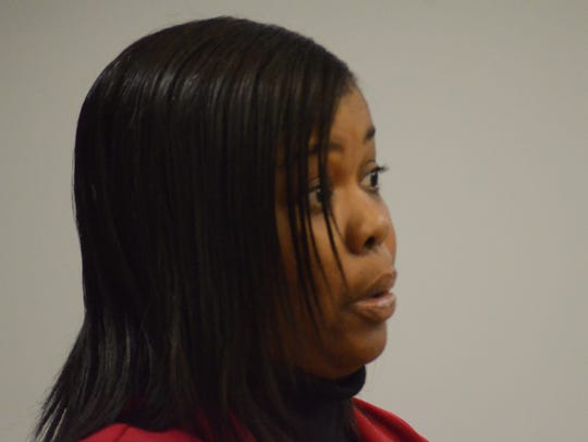 Tinya Wilkins speaks to the judge about her dead brother.