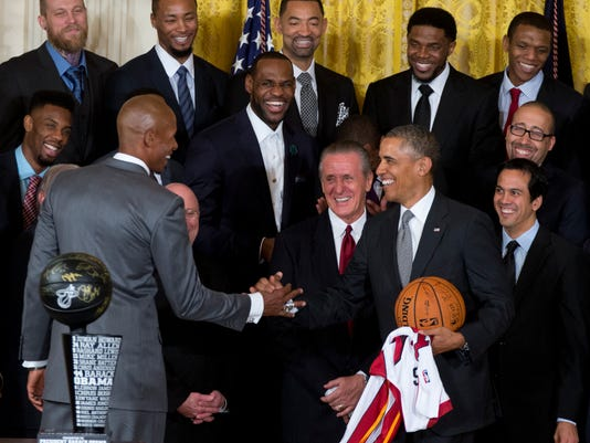 AP OBAMA MIAMI HEAT BASKETBALL S A BKN USA DC