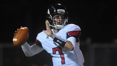 Brandon Valley's Jake Comeaux looks to throw a pass against Roosevelt on Friday, August 29, 2014 at Howard Wood Field.