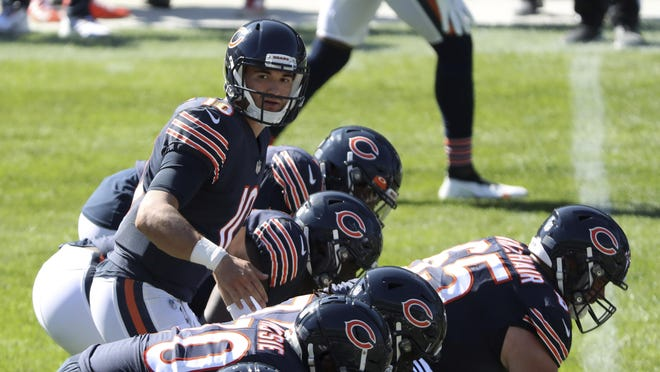 Chicago Bears quarterback Mitch Trubisky (10) calls out a play in the fourth quarter against the New York Giants at Soldier Field Sunday, Sept. 20, 2020, in Chicago.
