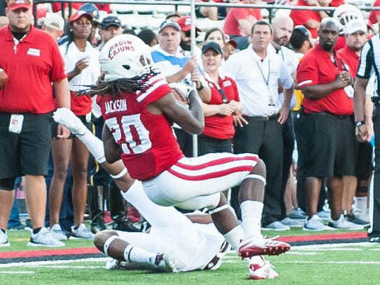 UL's Jarrod Jackson hauls in one of his seven catches