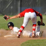 Clarkville's Cody Leonhardt is tagged out at second by Jeffersonville's Trenton Norris.  May 5, 2015.