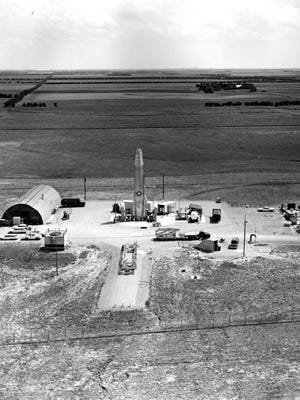 Siloworld.net believes this photo, taken in the 1960s, is of an Atlas F Missle being placed in its silo just east of McPherson.