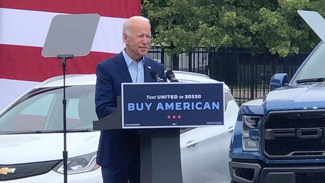 Democratic presidential nominee Joe Biden speaks Sept. 9 at a UAW hall in Warren, Michigan.